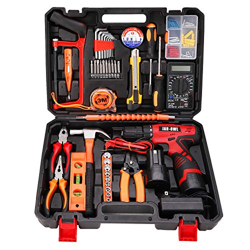 jar-owl 60-Piece Tool Set with Drill, Power Tool Set with 16.8V Lithium Cordless Drill Driver for Home Repair Tool Kit