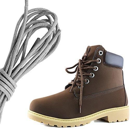 Dailyshoes Da Donna Con Allacciatura Alla Caviglia, Collo Alto Imbottito Da Lavoro, Stivali Rigidi, Marrone Marrone Marrone Pu
