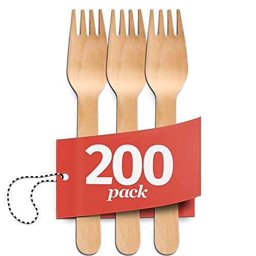 Disposable Wooden Forks - 200 Piece Set - 100% Natural, Eco-Friendly, Biodegradable & Compostable Utensils - Great for Parties, Weddings, BBQs & Dinner Events - By Aevia - Natural Birch Kitchen Set