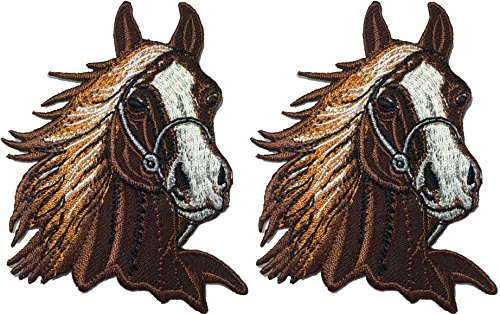 Set 2 of Brown Horse Head Riding Farm Kids Children Baby Sew Iron on Embroidered Applique Emblem Badge Costume Patch By Ranger (Morphsuit For Kids Cheap)
