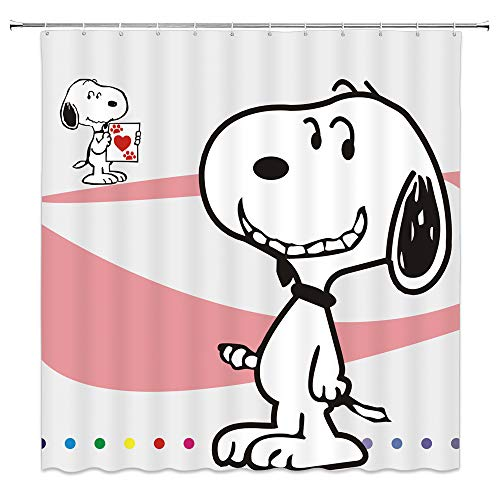 AMNYSF Dog Snoopy Shower Curtain Cartoon Illustration Cute Animals Decor Fabric Bathroom Curtains,Waterproof Polyester with Hooks 70x70 Inches ()