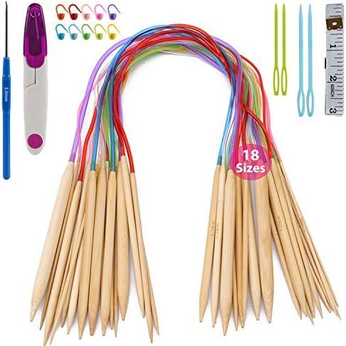 18 Paar Rundstricknadeln aus Bambus 2.0mm-10.0mm und 44 Stricken Zubeh/ör f/ür Handarbeit oder DIY Crafts Tool Katech 62pcs Stricknadel Set