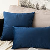 MIULEE Velvet Soft Decorative Square Throw Pillow Case Cushion Covers Pillowcases for Livingroom Sofa Bedroom with Invisible Zipper 30cm x 50cm 12x20 Inch 1 Piece Black