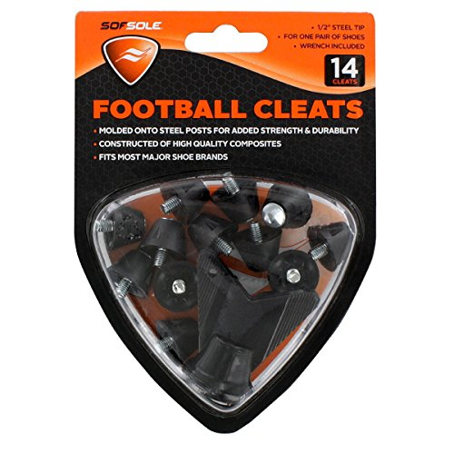 Sof Sole Steel Tip Replacement Cleat for Football Shoes, (1/2 Inch Spikes)