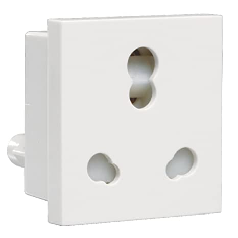 Havells Crabtree Athena 6A 16A Three Pin Combined Shutter Socket  White  Pack of 5 Switches   Dimmers