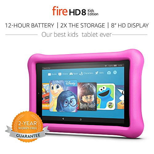 All-New Fire HD 8 Kids Edition Tablet, 8″ HD Display, 32 GB, Pink Kid-Proof Case