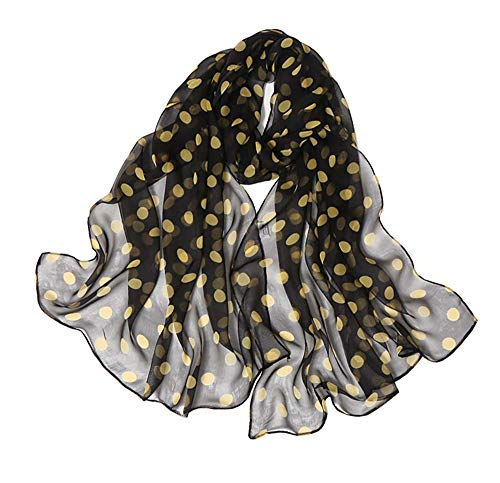 Women's Silk Feeling Scarf Fashion Scarfs Lightweight Sunscreen Scarves Wraps Shawls for Ladies and Girls (Spots-Yellow)