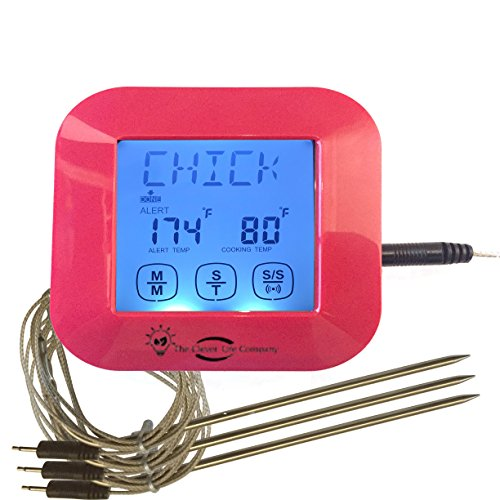 The Clever Life Company Digital Meat Thermometer with 3 Stainless Steel Temperature Probes for Oven Cooking, Smoking or Grilling Meat, Red