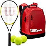 Wilson Energy XL Pre-Strung Recreational Tennis Racquet Set or Kit Bundled with a Federer Team Tennis Backpack and a Can of Tennis Balls