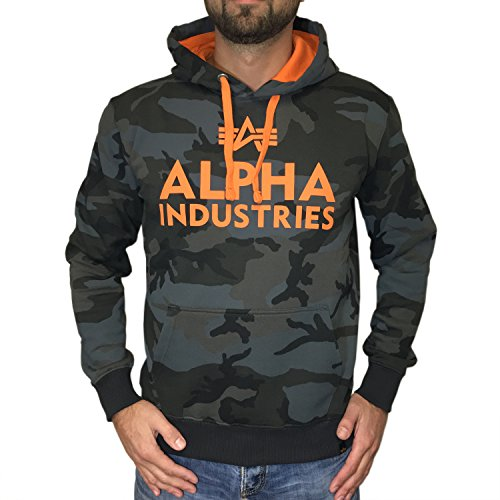 Alpha Industries Kapuzenpullover Foam Print Hoody blackcamo / orange