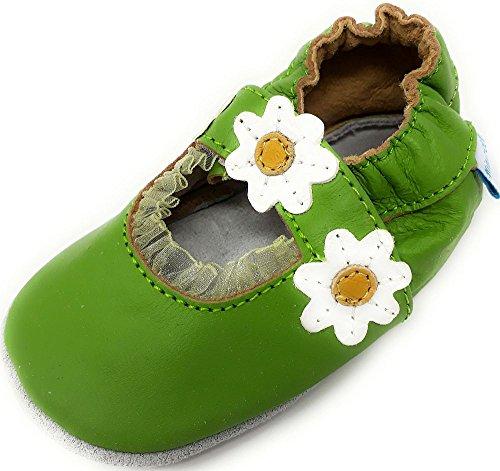 MiniFeet Premium Weich Leder Babyschuhe Jungen und Mädchen 0-6, 6-12, 12-18, 18-24 Monate und 2-3, 3-4 Jahre Grüne Sandale