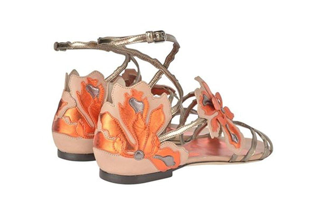 JC Fashion Damen Stil Bandage Sandalen Römischen Stil Damen Flache Sandalen,Orange,38 ad6740