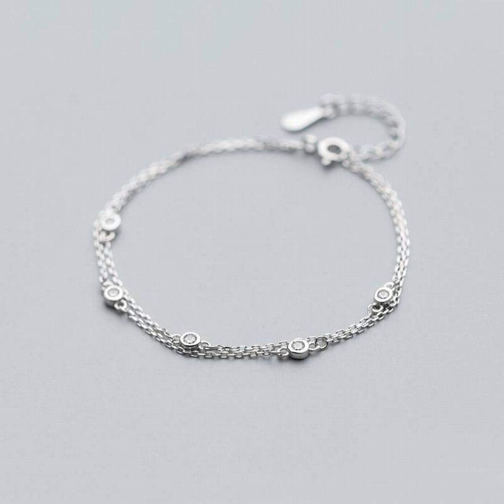 LOt Bangles Bracelets S925 Silver Bracelet Womens Fashion Simple Double-Layer Bracelet Temperament Personality