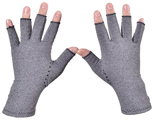 Woogwin Arthritis Compression Gloves - Open Gloves for Relief of Rheumatoid & Osteoarthritis Joint Pain, Fingerlss Hand Non-Slip Gloves for Typing Computer and Daily Work for Men & Women (Gray, L) by woogwin (Image #1)