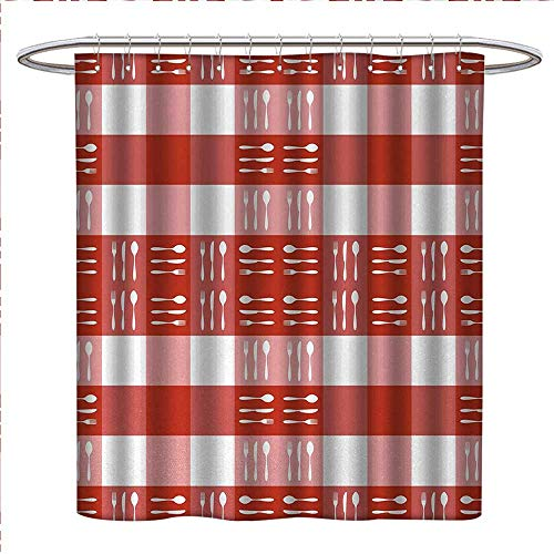 (Anniutwo Checkered Shower Curtains 3D Digital Printing Cutlery Silhouettes on Squares Dining Picnic Tile Spoons Forks Knives Bathroom Decor Set with Hooks W72 x L72 Coral Dark Coral White)