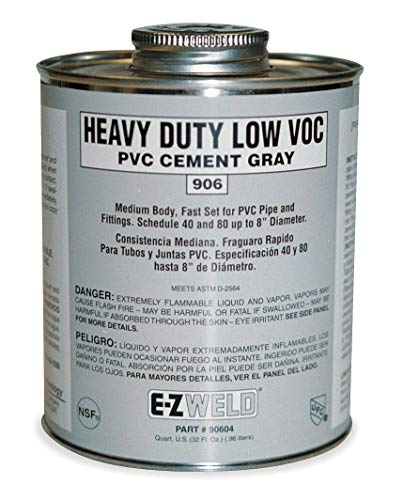 (Ez Weld Medium Body Cement, Gray, 8 oz., for PVC, Schedule 40 and 80 Pipes and Fittings Up To 8