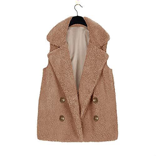 maniche lungo giacca donna sintetica kaki pelliccia da Gilet senza cappotto Clearance sintetico Cebbay in y7vYbf6g