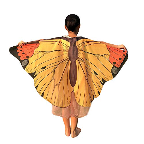 Butterfly Clothing Kite (3-10T Kid's Fancy Costume Accessory-Butterfly Wings Print Shawl Soft Scarf Poncho for Halloween/Party (Yellow, One Size))