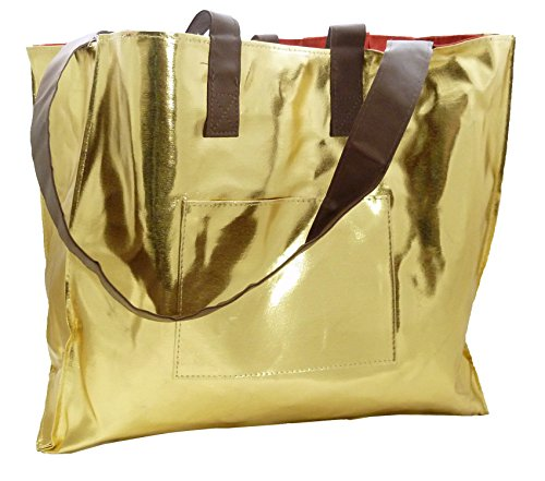 Gold Large Tote - Stanley Apparel Tote Shopping Bag with Pockets Reversible, Gold/Red, Large