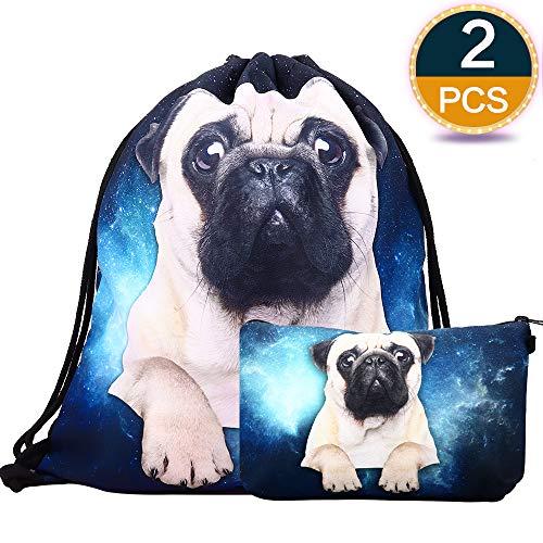 Lingpeng 2-piece set Waterproof Drawstring Bag for Girls,Print Backpack Travel Gym Bags (Pug) for $<!--$9.99-->