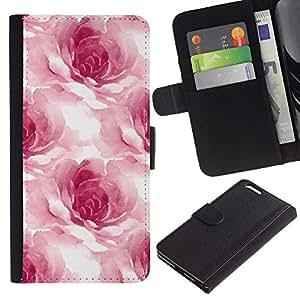 Planetar® Modelo colorido cuero carpeta tirón caso cubierta piel Holster Funda protección Para Apple (5.5 inches!!!) iPhone 6+ Plus ( Watercolor Roses Flower Petals Floral White )