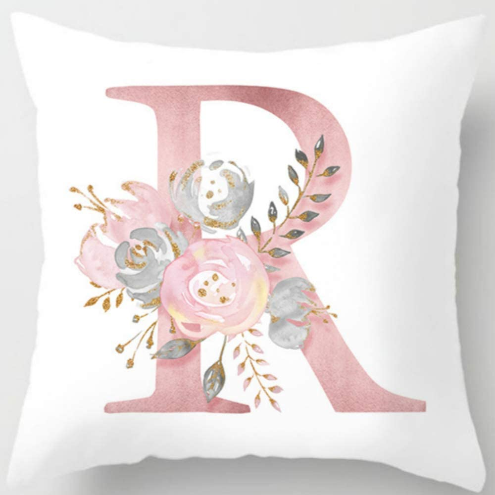 Eanpet Throw Pillow Covers Alphabet Decorative Pillow Cases ABC Letter Flowers Cushion Covers 18 x 18 Inch Square Pillow Protectors for Sofa Couch Bedroom Car Chair Home Decor (R)