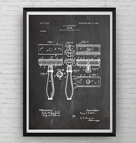 Double Edge Razor Patent Print - Poster Shaving Gift Fathers