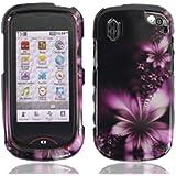 LF Designer Hard Case Cover, Stylus Pen & Wiper for Verizon Pantech 8992 Hotshot (Purple Daisy)
