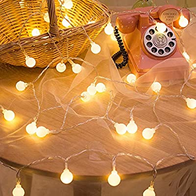 YMing Indoor String Lights, 49Ft 100 LED Warm White Ball-Shaped String Lights, Decorative Fairy Light for Indoor Outdoor Decoration, IP44 Waterproof 29V Low Voltage
