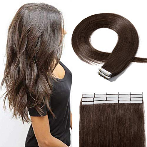 (20 Pieces Rooted Tape in Hair Extensions Human Hair Seamless Skin Weft 100% Real Remy Invisible Tape Hair Extensions Straight Double Sided 22 Inches #04 Medium Brown 50g)