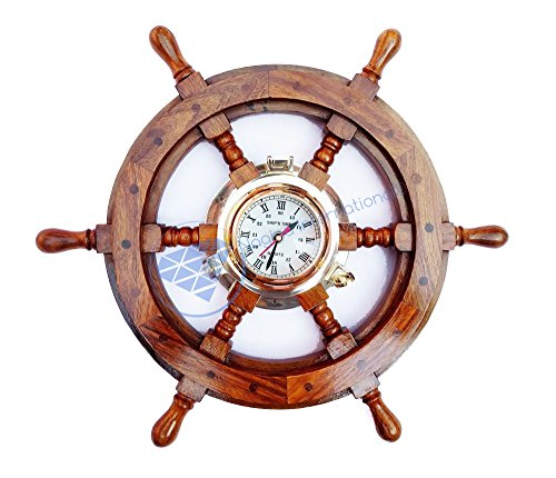 Nagina International Nautical Teak Wood Maritime Ship Wheel with Brass Porthole Time Clock Pirate Nursery Ocean Beach Home Decor Gift