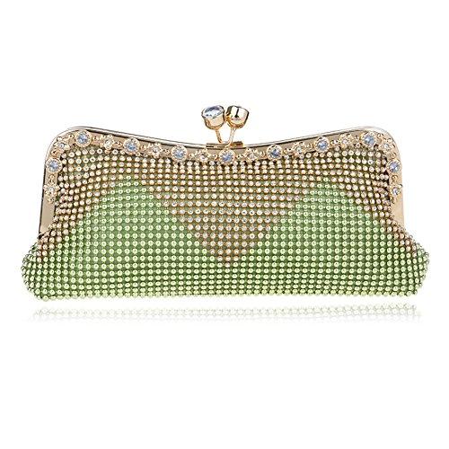 clutch fête à de main soirée purse vert 2x4x10inch 5x11x26cm Pour strass de soirée Sac main dames Sac crystal mariage à le Vert Femmes bal sac de de TWn7Ypq