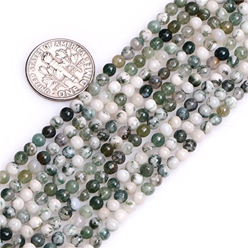 Green Tree Agate Beads - JOE FOREMAN 4mm Green Moss Tree Agate Semi Precious Gemstone Round Loose Beads for Jewelry Making DIY Handmade Craft Supplies 15