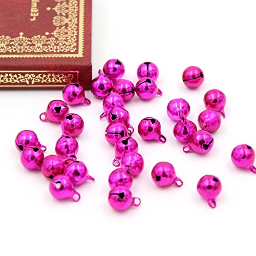 Topxome 20pcs mini Copper Loose Beads Jingle Bells Christmas Decoration Pendants DIY Christmas Bells Handmade Accessories Size 9x9mm (rose)