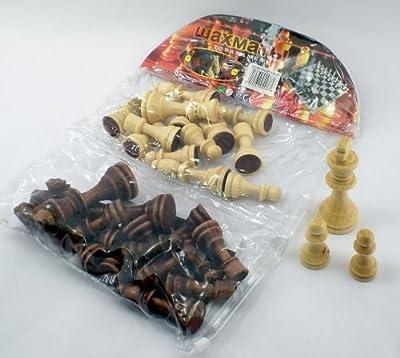 Simulated Wood Chess Men Piece Plastic Set