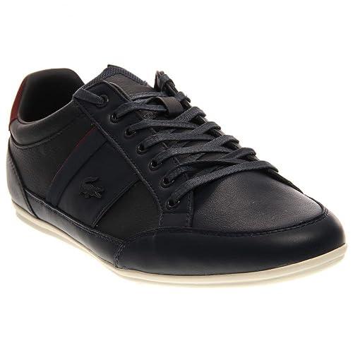 e05ec6e1e Lacoste Mens Chaymon PRM Sneakers in Dark Blue Dark Red 10.5 M US ...