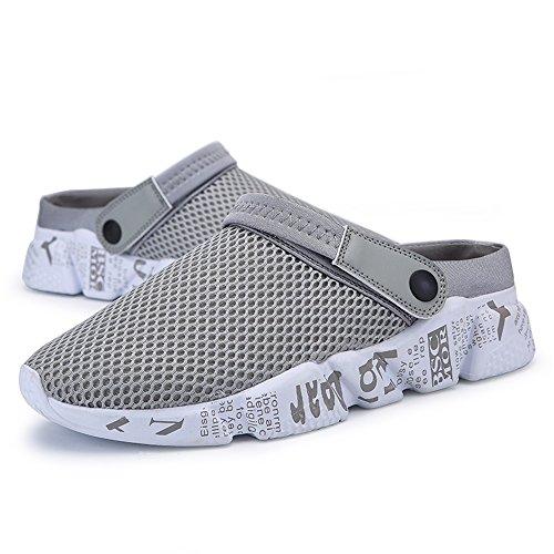 piatto con taglia da Cinture unita tessuto uomo fino alla Slip in sandali Grigio tinta rete tacco 46 scarpe Fangs uomo Scarpe on a da 2018 8wq4XvB
