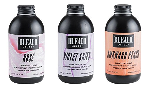 Bleach London Super Cool Colours Awkward Peach & Bleach London Super Cool Colours Violet Skies & Bleach London Super Cool Colours Rose x 150ml by Bleach London