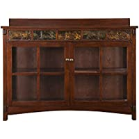 Southern Enterprises Camino Mission Sideboard and Curio, Red Washed Espresso Finish with Faux Slate