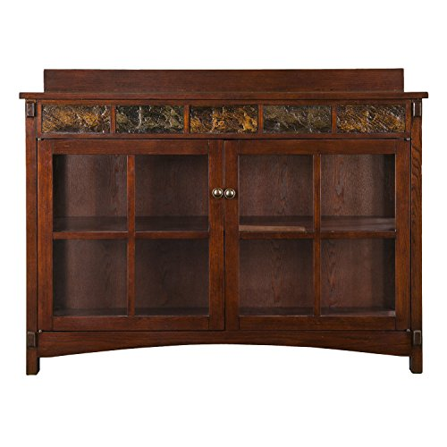Camino Mission Sideboard & Curio - Red Washed Expresso Finish w/ Faux Slate - Spacious Design Ash Dining Room Cabinet