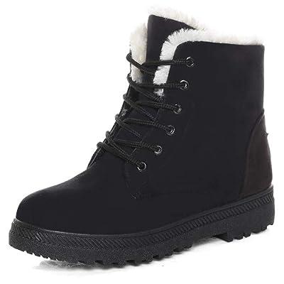 Susanny Suede Flat Platform Sneaker Shoes Plus Velvet Winter Women's Lace Up Cotton Snow Boots   Snow Boots