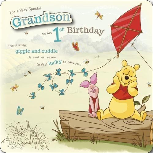 Grandson 1st Birthday Winnie The Pooh Disney Birthday Card