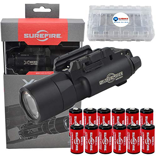 SureFire X300U-A Ultra High Output 1000 Lumens LED Weapon Light with 12 Extra CR123A and 3 Lightjunction Battery Case (X300 Light)