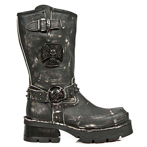 New Rock M.1612MTL-S1 Men's Metal Toe leather black boots Black
