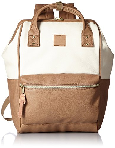 Anello Synthetic Leather Backpack Large AT-B1211 (Ivory x Pink) by Anello
