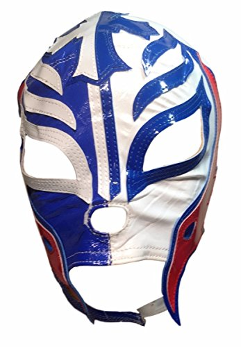 Main Street 24/7 WWE Licensed Rey Mysterio Youths Kid Size Half Blue Half White Leather Pro Grade Mask by Main Street 24/7