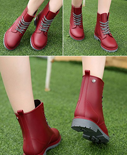 Warm Waterproof Boots LaoZan Red Military Wine Women's Breathable and wwqaZ