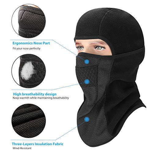 aegend Balaclava Polar Fleece, Windproof Ski Face Mask Winter Motorcycle Neck Warmer Tactical Balaclava Hood for Women Men Youth Snowboard Cycling Hat Outdoors Helmet Liner Mask-Black, 1 Piece