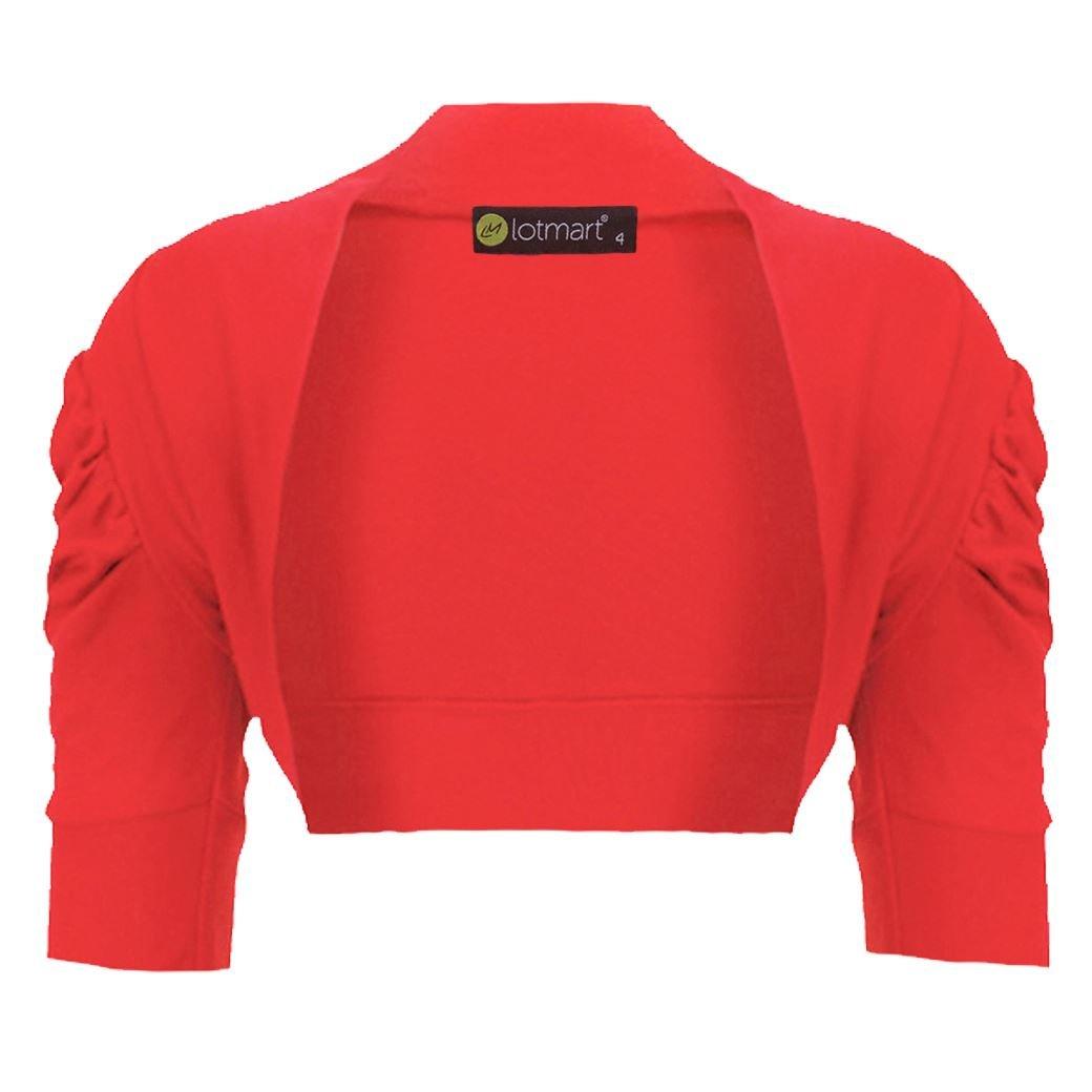 LotMart Girls Ruched Sleeve Casual Cropped Bolero Shrug Kids Plain Cardigan Top