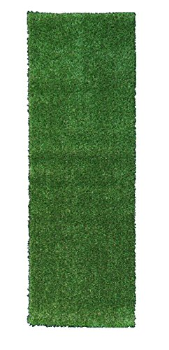 Evergreen Table (Ottomanson Evergreen Collection Indoor/Outdoor Green Artificial Grass Turf Solid Design Runner Rug, 2'7 x 8')